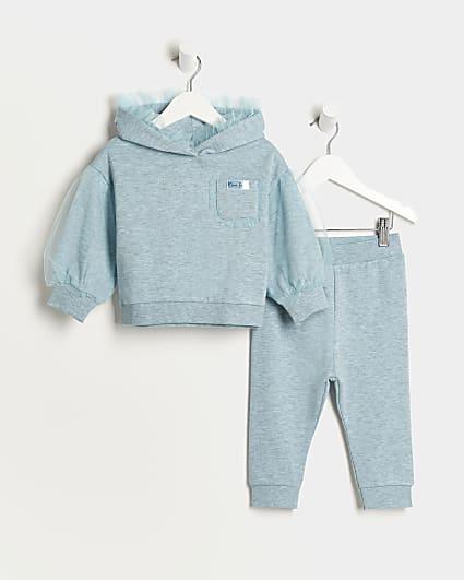 Mini girls blue mesh hoodie and joggers set