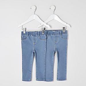 Mini– Blaue Mid-Rise-Jeggings, 2er-Pack