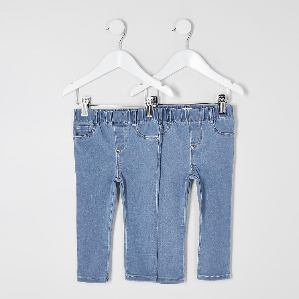 Mini - Blauwejeggings met halfhoge taille voor meisjes set van 2
