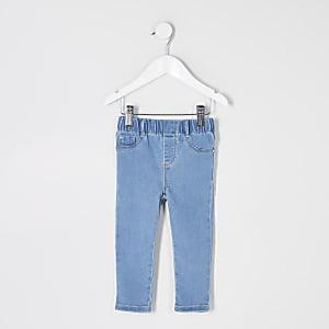 Mini - Blauwe jeggings met elastiek en halfhoge taille voor meisjes
