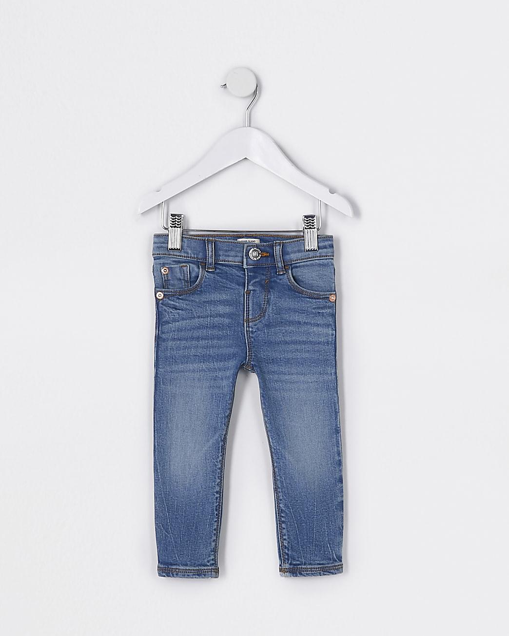 Mini girls blue mid rise skinny jeans