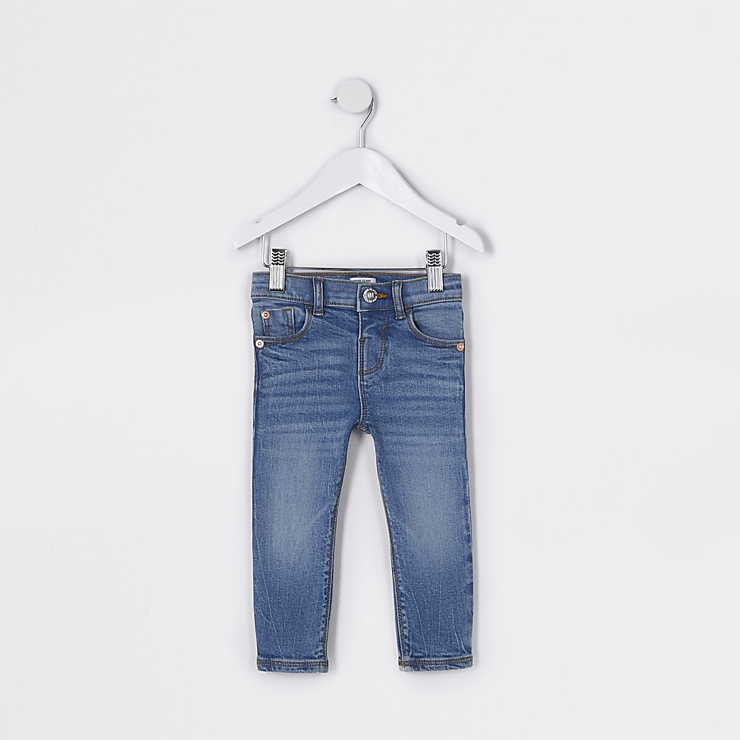 Mini girls blue mid rise skinny jeans