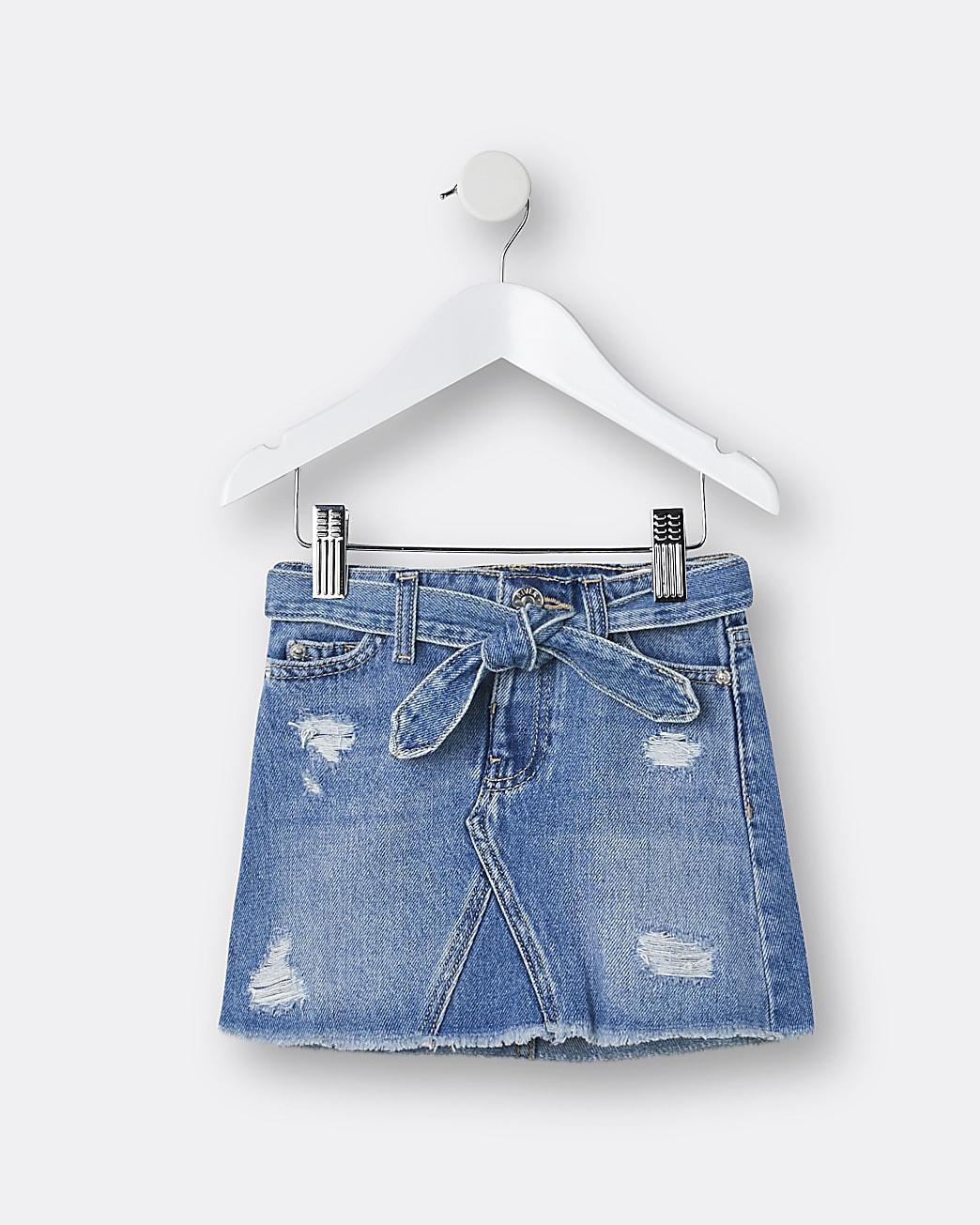Mini girls blue mid wash belted skirt