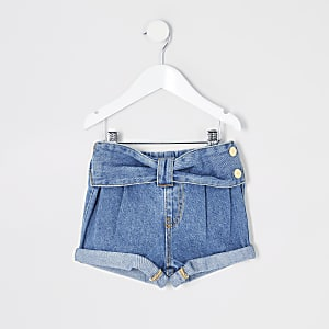 Mini girls blue Mom bow waist shorts