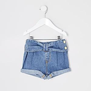 Mini - Blauwe Mom shorts met strikceintuur voor meisjes