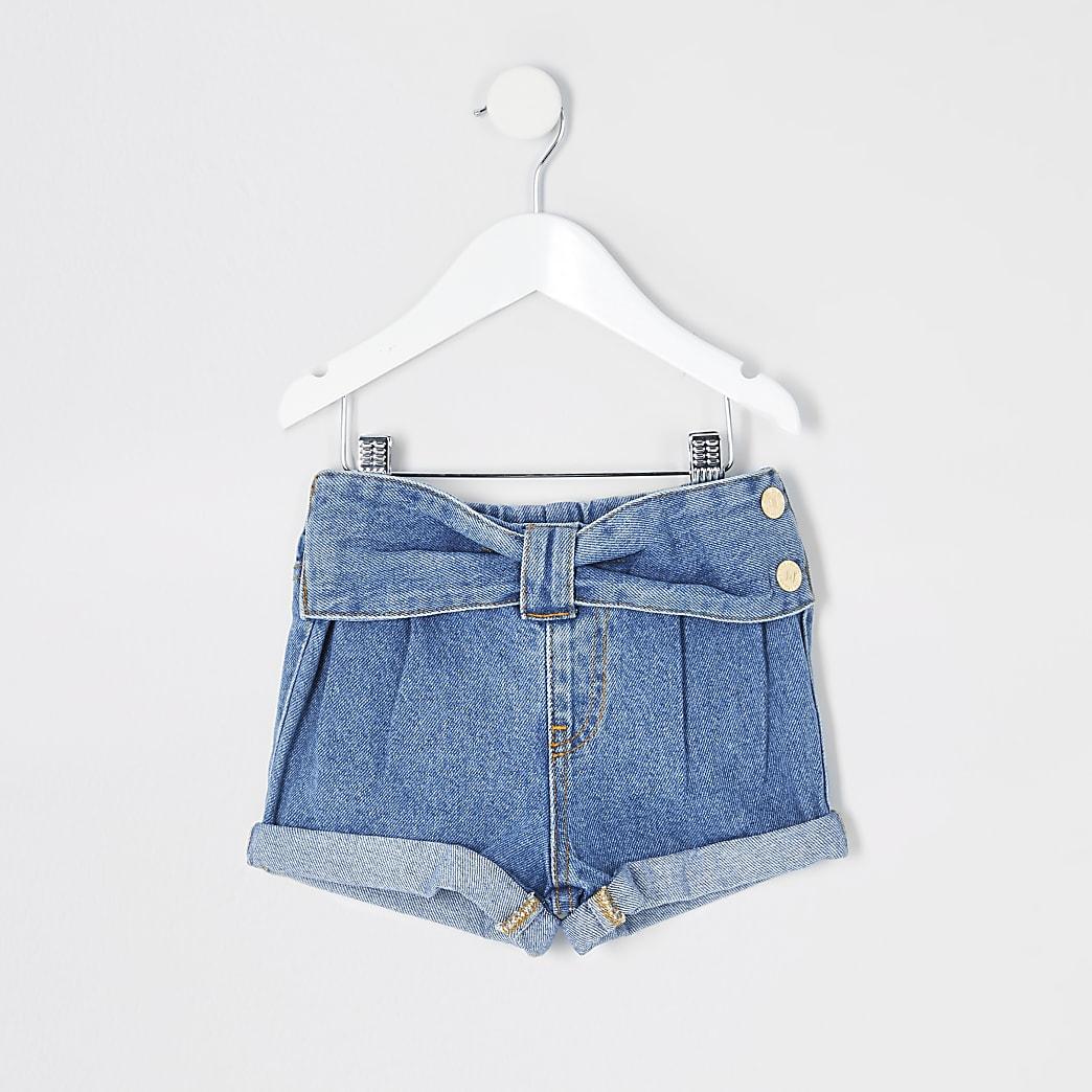Mini girls blue Mom bow waist shorts