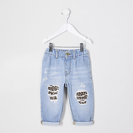 Mini girls blue mom leopard patch jeans