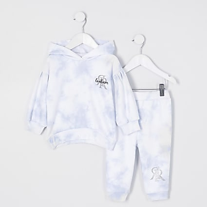 Mini girls blue moody tie dye leggings outfit