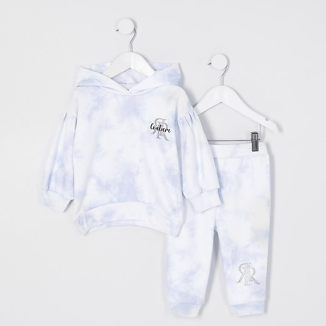 Mini girls blue moody tie dye leggings outfit