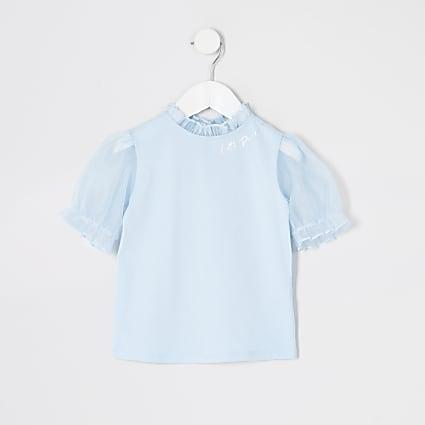 Mini girls blue organza puff sleeve T-shirt