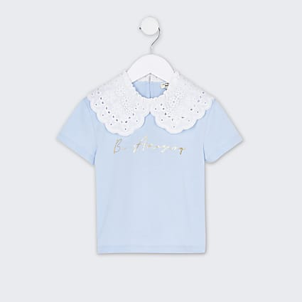 Mini girls blue oversized collar t-shirt