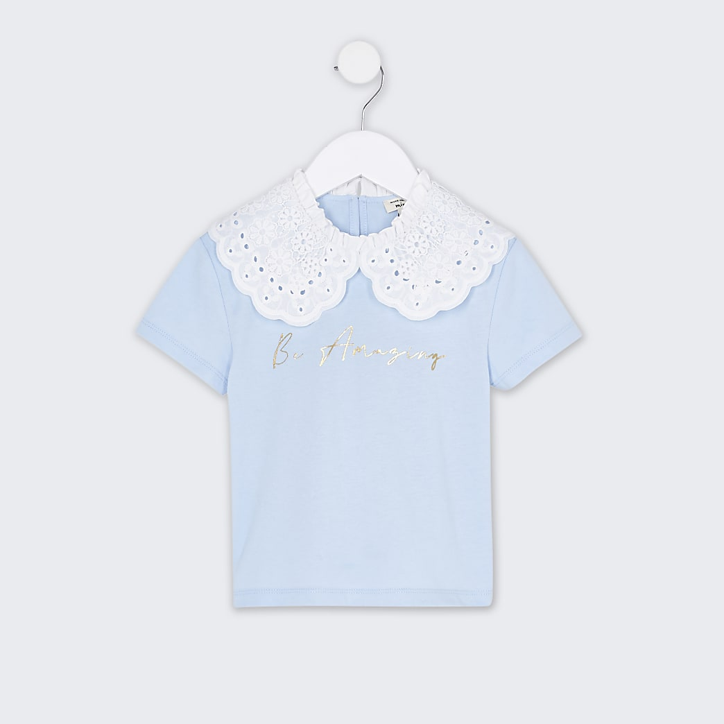 Mini girls blue oversized collar t-shirt