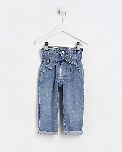 Mini girls blue paper bag jeans