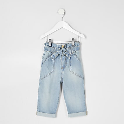 Mini girls blue paper bag jeans