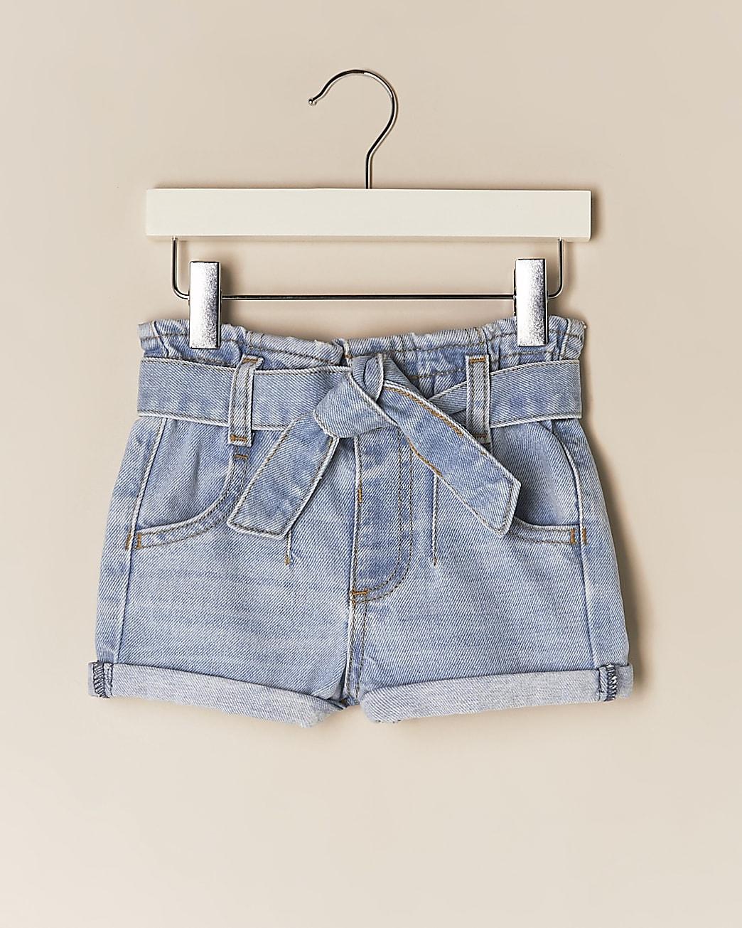 Mini girls blue paperbag belted denim shorts