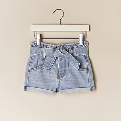 Mini girls blue paperbag belted denim shorts