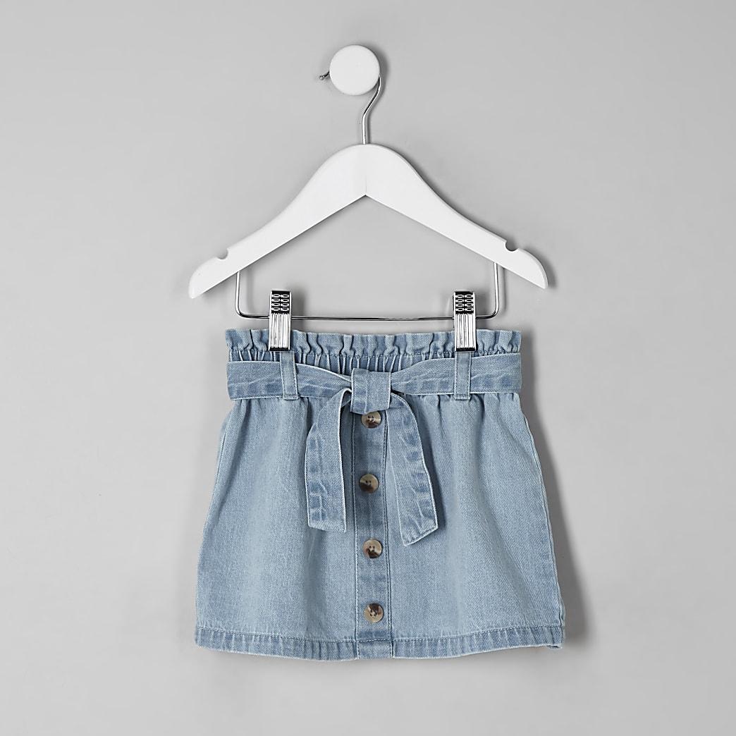 Mini girls blue paperbag denim skirt