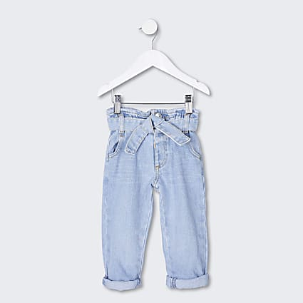 Mini girls blue paperbag jeans