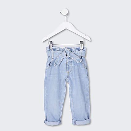 Mini girls blue paperbag jeans