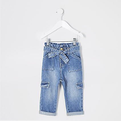 Mini girls blue paperbag tie waisted jeans