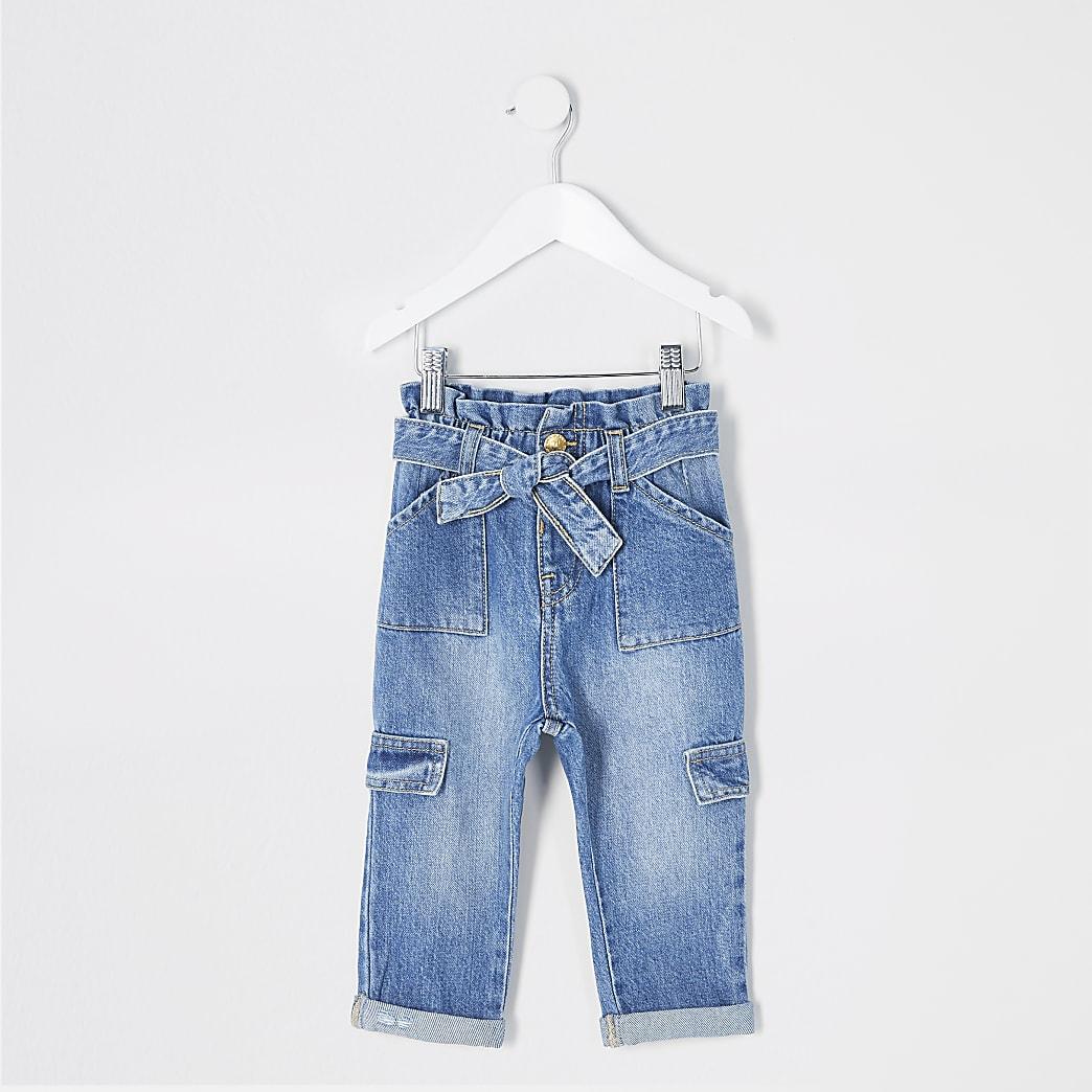 Blaue Mädchen-Jeans mit Bindegürtel