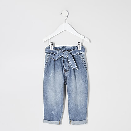 Mini girls blue paperbag waist jeans