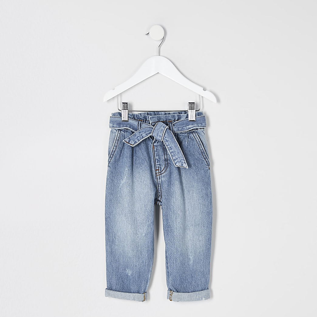 Mini - Blauwe jeans met geplooide taille voor meisjes