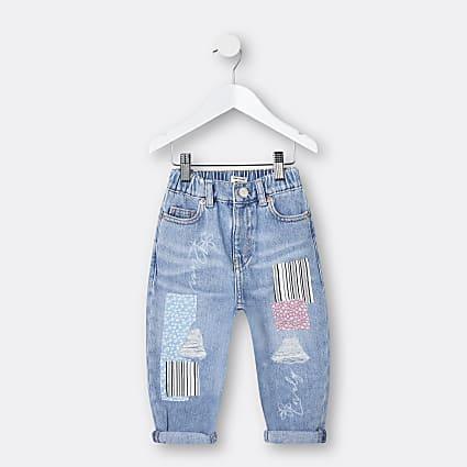 Mini girls blue patchwork mom jeans