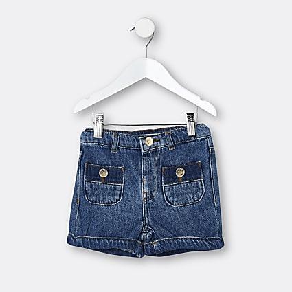 Mini girls blue pocket Mom shorts