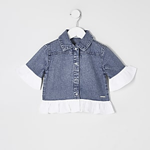 Mini girls blue poplin frill denim shacket