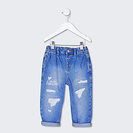 Mini girls blue print jeans