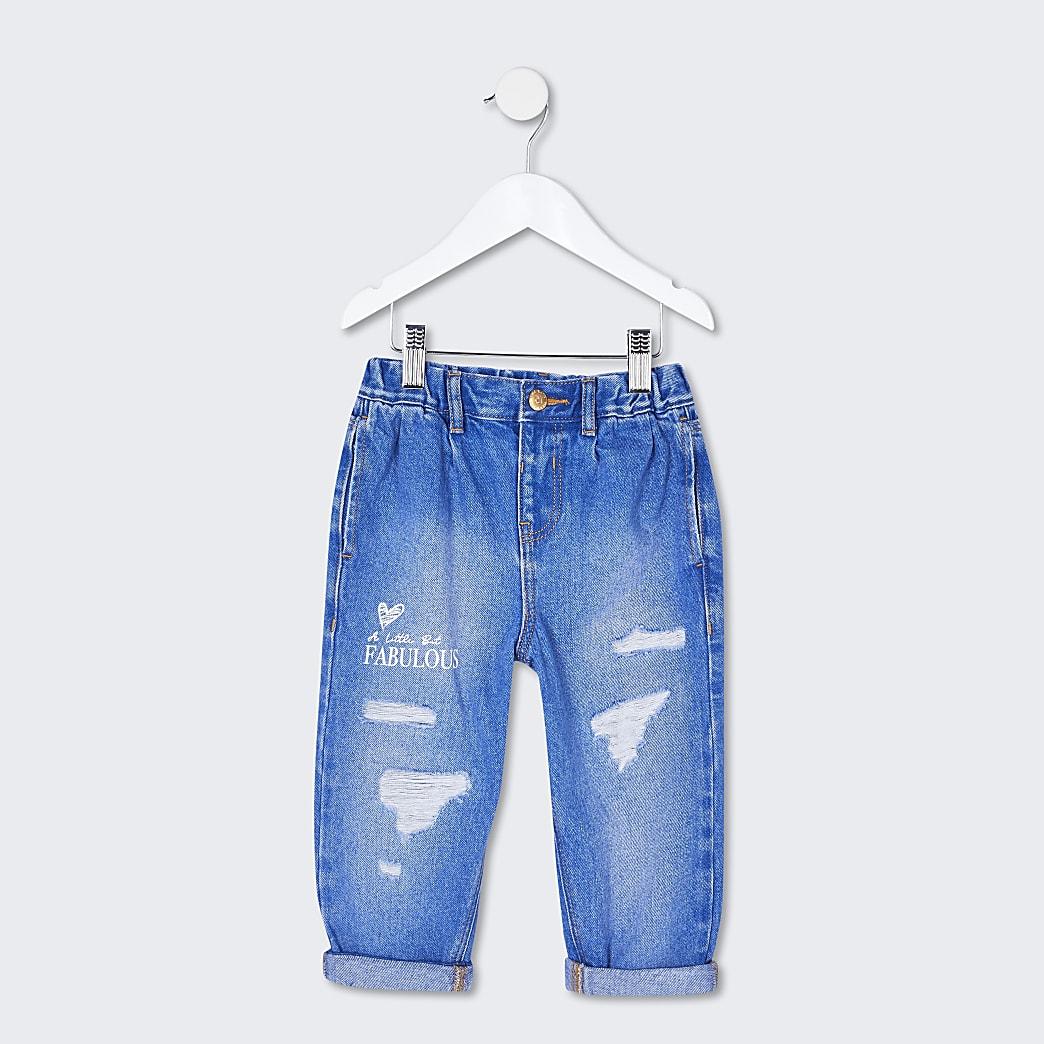 Mini girls blue print jeans