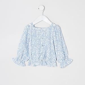 Mini– Blaues, langärmeliges Bardot-Oberteil mt Aufdruck für Mädchen