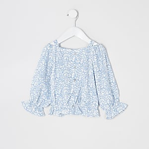 Mini - Blauwe bardottop met lange mouwen en print voor meisjes