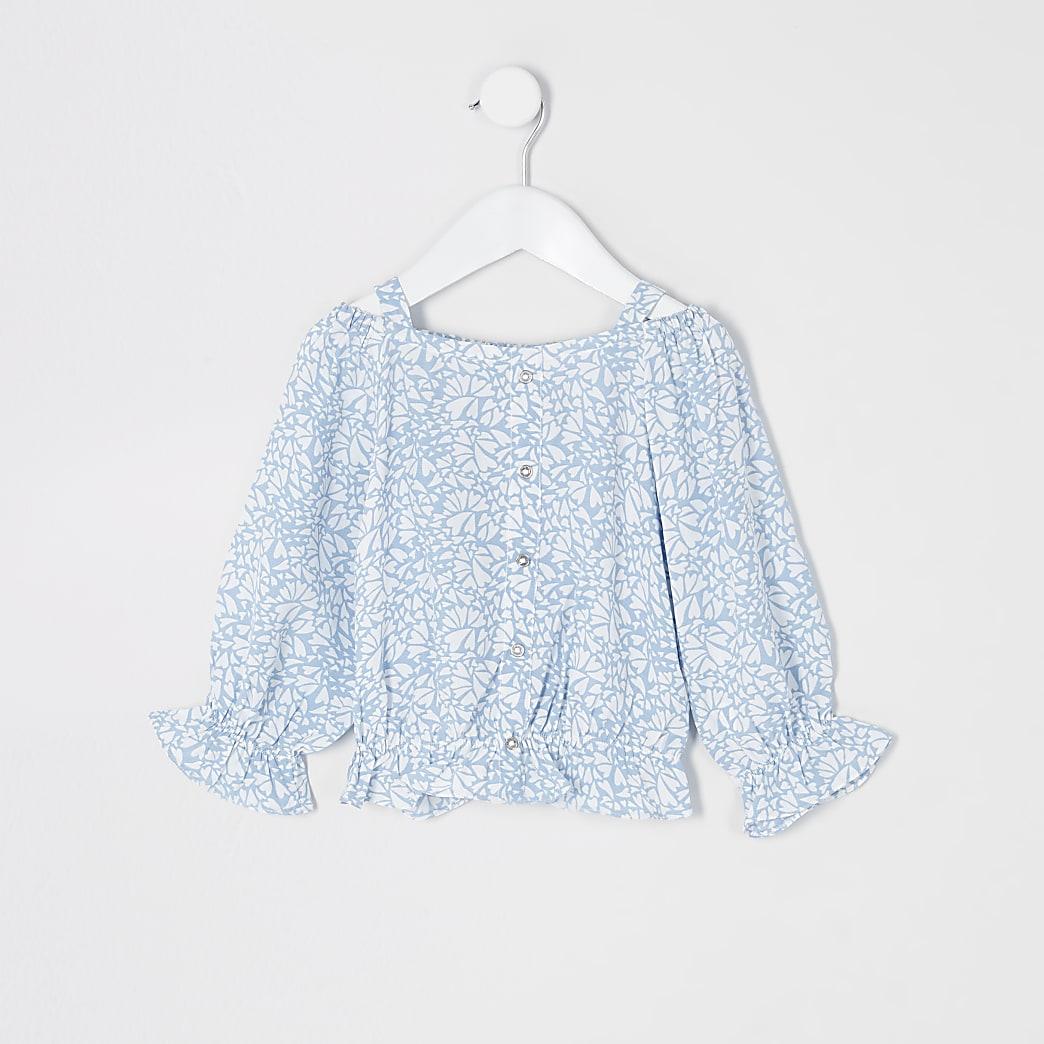 Mini girls blue print long sleeve bardot top