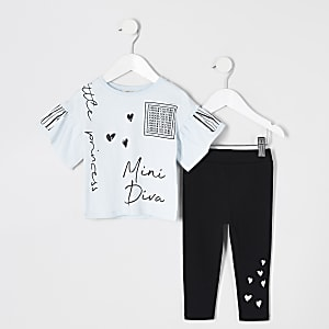 Tenue avec t-shirtà volants imprimébleu Mini fille