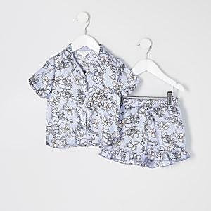 Mini – Blaue Pyjamas aus Satin mit Print für Mädchen