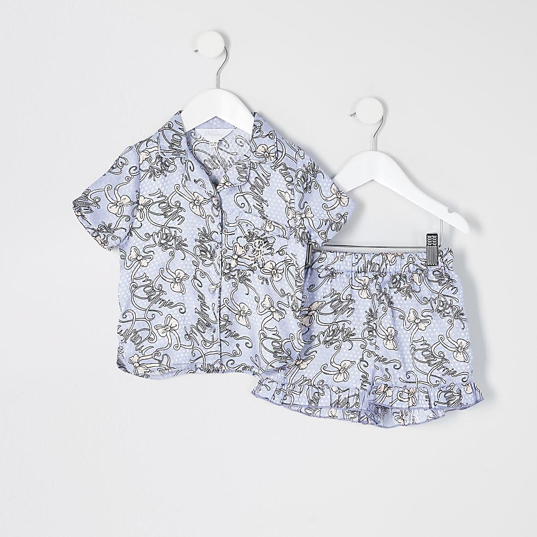 Mini - Blauwe satijnen pyjama met print voor meisjes