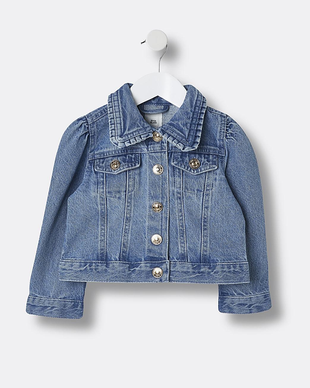 Mini girls blue puff sleeve denim jacket