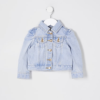 Mini girls blue puff sleeve denim jacket