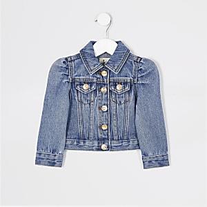 Mini -Blauw denim jack met pofmouwen voor meisjes