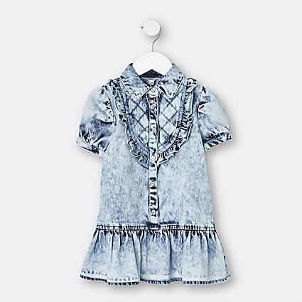 Mini girls blue quilted denim shirt dress