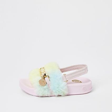 Mini girls blue rainbow faux fur sliders