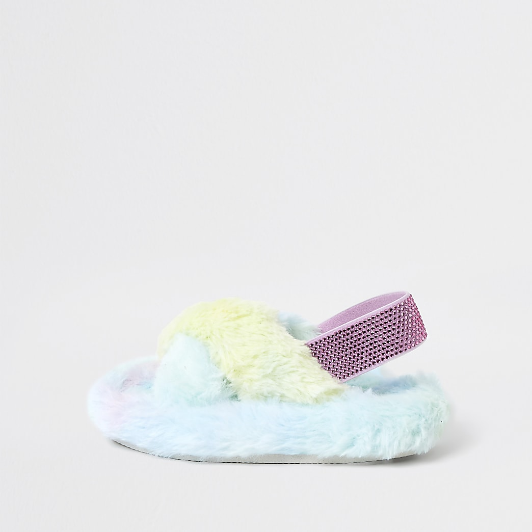 Mini girls blue rainbow faux fur slippers