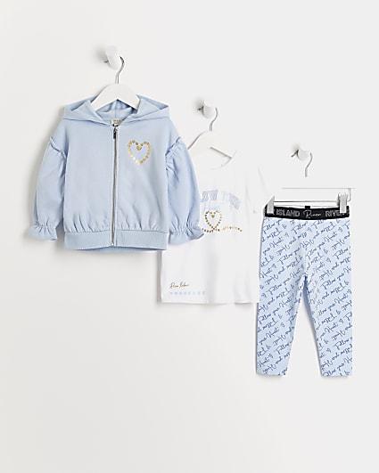 Mini girls blue RI heart hoodie 3 piece set