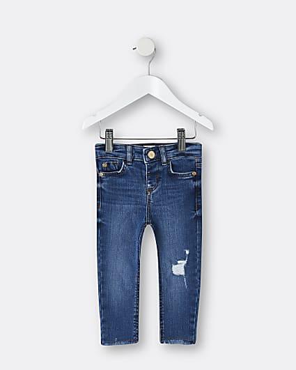 Mini girls blue rip skinny jeans