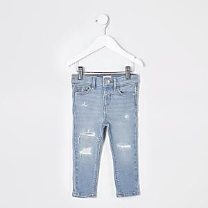 Mini - Amelie - Blauwe ripped skinny jeans voor meisjes