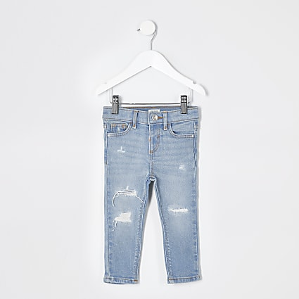 Mini girls blue ripped Amelie skinny jeans