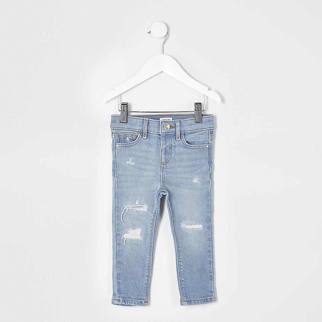 Mini girls blue ripped Amelie skinny jeans