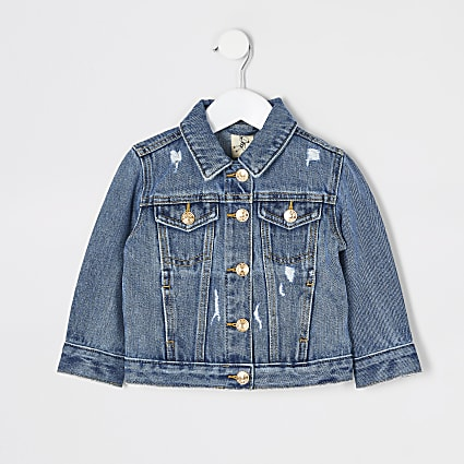 Mini girls blue ripped denim jacket